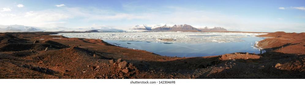 Panor�¡mica del lago Jokulsarlon al atarcecer