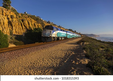 DEL MAR, CALIFORNIA, UNITED STATES - FEBRUARY 5, 2018: The Coaster commuter train that operates in the central and northern coastal regions of San Diego County passing through Del Mar Heights