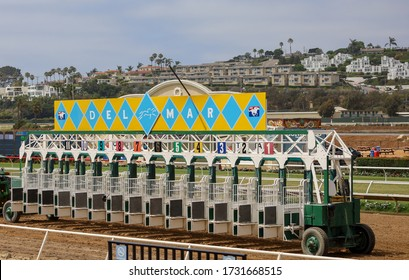 Del Mar, California / USA - August 7, 2019: Picture of a starting gate or stall at Del Mar Race Track in California.