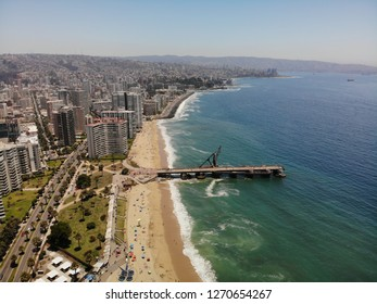 Viña del mar city, aereal photo of Muelle Vergaras place