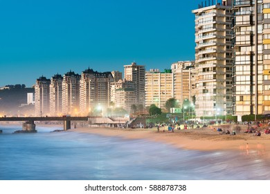 Viña del Mar, V Region de Valparaiso, Chile - August 15, 2016: Acapulco beach, the main beach at Viña del Mar, gathers a lot of people even in winter season.