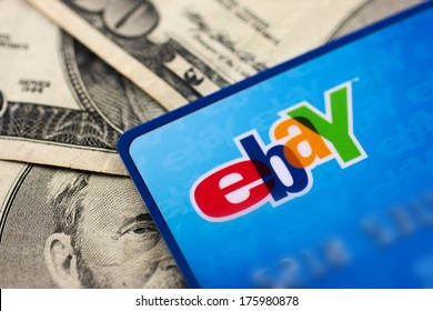 DeLand, FL - February 6, 2014: Ebay credit card issued by Mastercard.