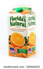 DeLand, FL, USA - July 24, 2014:  Florida's Natural is a very popular brand of fresh squeezed orange juice.
