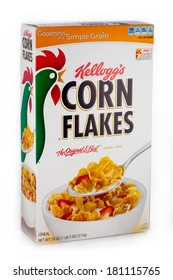 DeLand, FL, USA - March 7, 2014: Kellogg's Corn Flakes remains a top draw in morning breakfast cereals.  Kellogg'Â?Â?s uses a unique treatment of corn, a process patented on April 14, 1896.