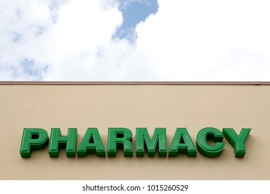 DELAND, FLORIDA, USA - MARCH 13, 2015: Pharmacy sign on Publix supermarket in Deland city, Florida