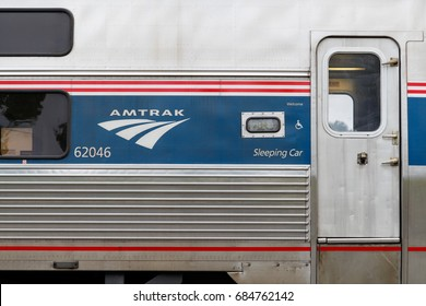 DELAND, FLORIDA, USA - MARCH 6 2015: Amtrak train car