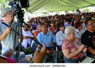 DELANO, CA-JUNE 21, 2014: Today is the 40th Anniversary Celebration at Agbayani Village where some filipino Manongs retired in 1970 after helping with the successful table grape boycott.