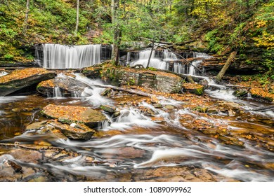 Delaware Falls is a beautiful waterfall found in Ganoga Glen at Ricketts Glen State Park, Pennsylvania.