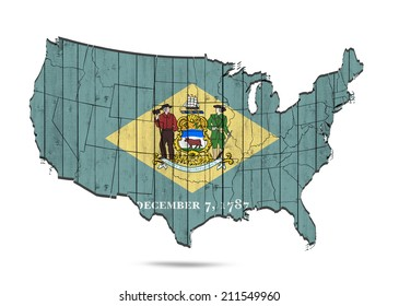 Delaware flag with America map and white background