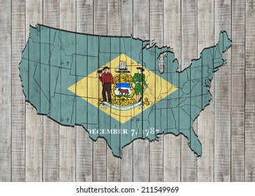 Delaware flag with America map and wood background