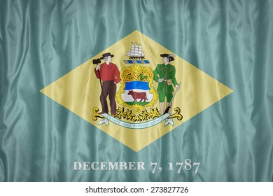 Delaware flag pattern with a peace on fabric texture,retro vintage style