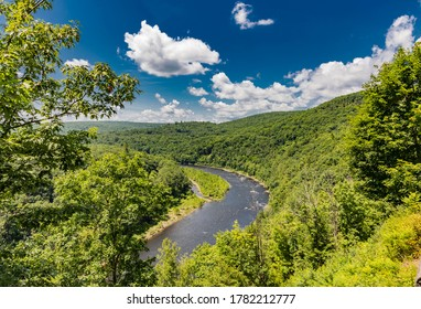Delaware river bend near Hawks Nest at Catskill Mountains on the summer day