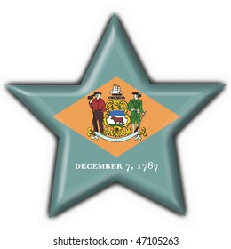 Delaware (USA State) button flag star shape