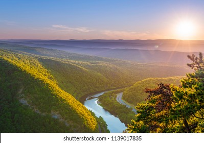 Delaware Water Gap Recreation Area viewed at sunset from Mount Tammany located in New Jersey