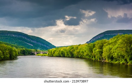 The Delaware Water Gap and the Delaware River seen from from a pedestrian bridge in Portland, Pennsylvania.