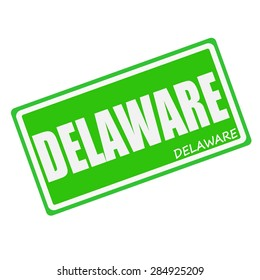 DELAWARE white stamp text on green