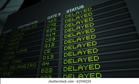 'Delayed' version of flight information board