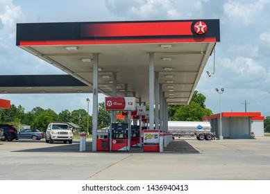 DELCAMBRE, L.A. / USA - JUNE 28, 2019: Texaco Gas station, gasoline, and fuel pumps, and convenience store located in the small town of Delcambre, Louisiana which falls into Vermillion Parish.