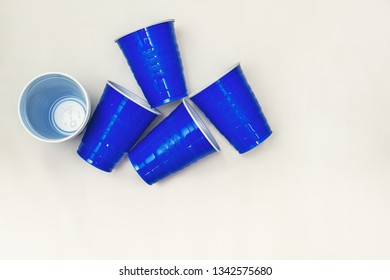 DELCAMBRE, L.A. / USA - MARCH 18, 2019: Blue solo cups, plastic disposable drinking cups for beverages used at parties and events similar to the red solo cup.