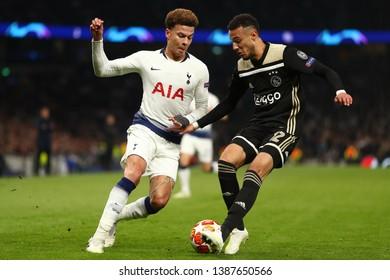 Dele Alli of Tottenham Hotspur looks to beat Noussair Mazraoui of Ajax - Tottenham Hotspur v Ajax, UEFA Champions League Semi Final - 1st Leg, Tottenham Hotspur Stadium, London - 30th April 2019