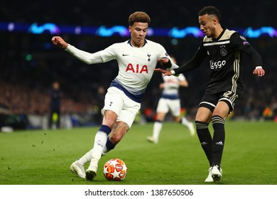 Dele Alli of Tottenham Hotspur and Noussair Mazraoui of Ajax - Tottenham Hotspur v Ajax, UEFA Champions League Semi Final - 1st Leg, Tottenham Hotspur Stadium, London - 30th April 2019
