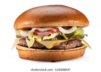 Delecious hamburger isolated on white background