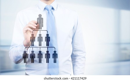 Delegate concept with businessman and employee hierarchy pictogram