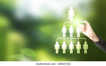 Delegate concept with businesswoman hand drawing abstract employee hierarchy pictogram on green background