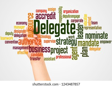 Delegate, word cloud and hand with marker concept on white background.