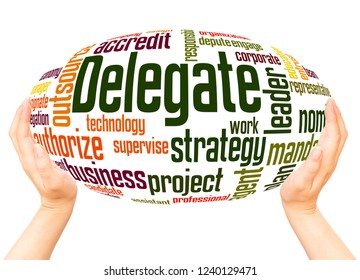 Delegate word cloud hand sphere concept on white background.