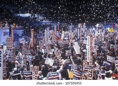 Delegates cheer for Clinton's nomination at the 1992 Democratic National Convention at Madison Square Garden, New York