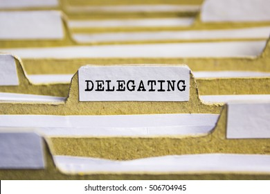 Delegating word on card index