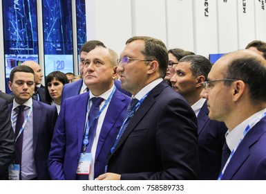 Delegation of business people at the gas forum. St. Petersburg, Russia - 3 October, 2017. Participants and visitors of the annual St. Petersburg Gas Forum.