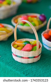 Deletable Imitation Fruits, Kanom Look Choup, in basket. Thai traditional dessert