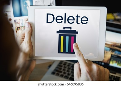 Delete cancel cut out remove erase edit
