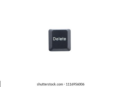 Delete computer key button isolated on white background with clipping path.