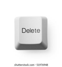 Delete computer key button isolated on white. Eraser concept.