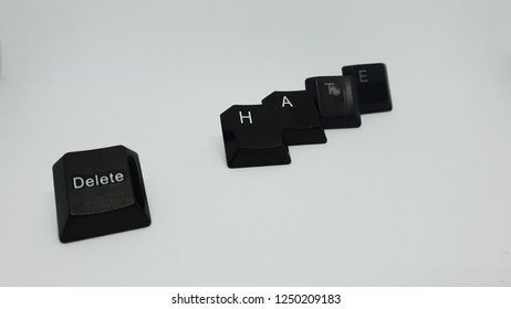 delete hate words isolated on white background. conceptual image about hate who must be erased