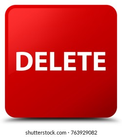 Delete isolated on red square button abstract illustration