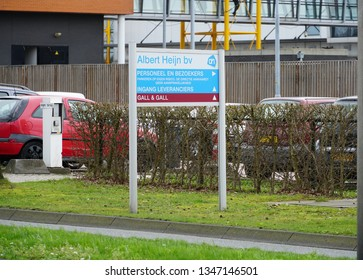 Delfgauw, the Netherlands. March 2019. Albert Heijn (AH) distribution center. Albert Heijn is one of the larges supermarket chains in the Netherlands.