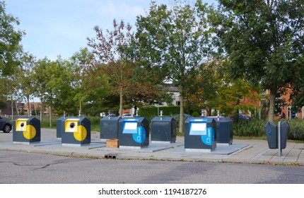 Delfgauw, the Netherlands. October 2018. Underground waste containers for recycling waste.