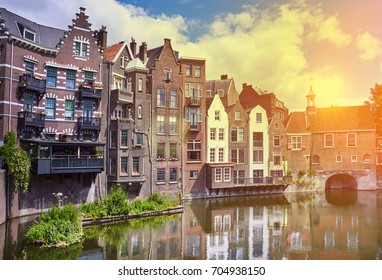 Delfshaven in Rotterdam at sunset, historic center of Netherlands. Toned image
