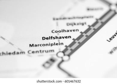 Delfshaven Station. Rotterdam Metro map.
