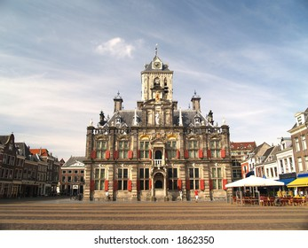 Delft 17th century city town Hall, Netherlands