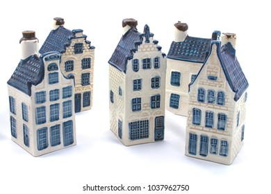Delft blue (aka dutch china) ceramic houses isolated on white. Part of series of delft blue houses