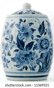 Delft blue pot on white background