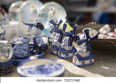 Delft Blue souvenirs in a Dutch market stall