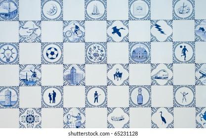delft blue tiles as a wall of a modern building