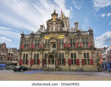 Delft City Hall on Market square, Netherlands