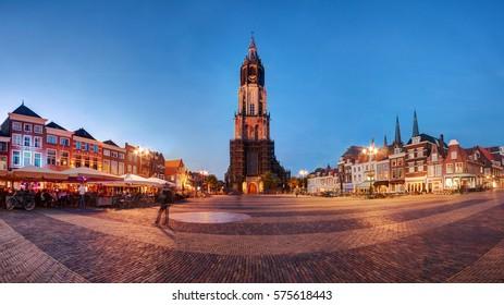 Delft, Holland (Netherlands): beautiful Nieuwe Kerk (New Church) on the Market Square (Markt) at dusk.